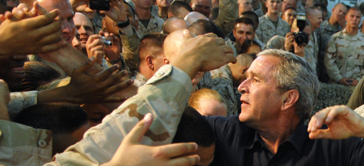 President Bush shakes hands with troops during a surprise Labor Day visit to Iraq, Sept. 3, 2007.