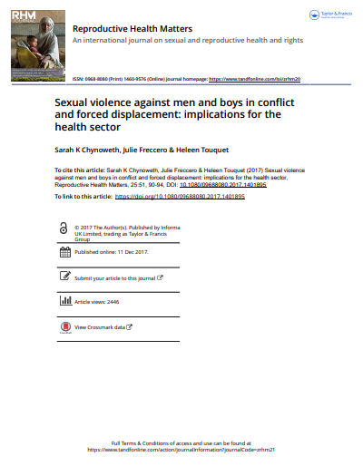 Sexual violence against men and boys in conflict and forced displacement: implications for the health sector